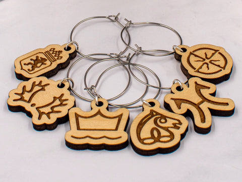 Warmblood Horse Breed Wine Charms, Set of 6,