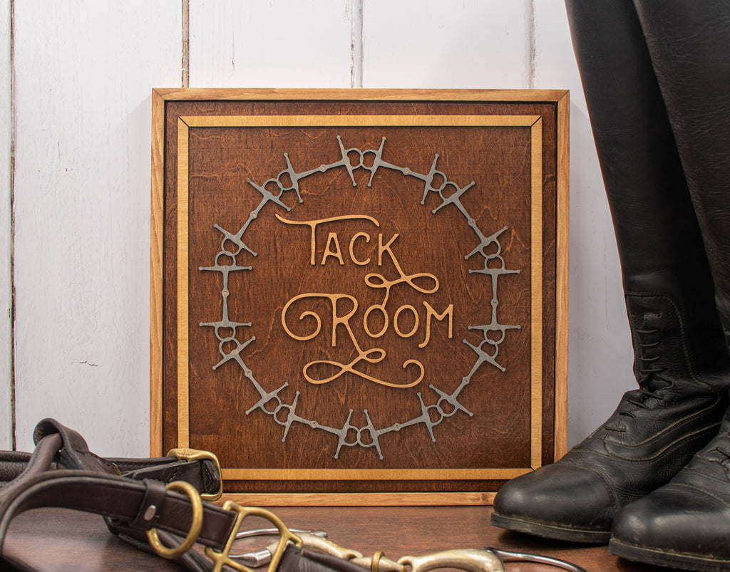 Tack Room Sign with Bit Design, Square