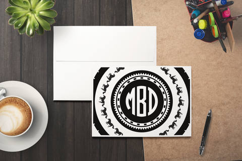 3 Letter Monogram Card Set (Set of 10 Blank Cards)