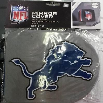 NFL Detroit Lions Rearview Mirror Covers (2pk) Large--Fits Most Trucks and SUV's - Hockey Cards Plus LLC