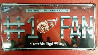 NHL Detroit Red Wings Metal #1 Fan License Plate - Hockey Cards Plus LLC