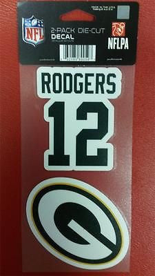 "NFL Green Bay Packers Aaron Rodgers Perfect Cut Decal 4"" x 8"" Sheet  w/ 2 Decals - Hockey Cards Plus LLC"