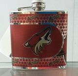 NHL Arizona Coyotes 6 oz Stainless Steel Hip Flask with 360 Wrap - Hockey Cards Plus LLC  - 1