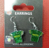 NFL Green Bay Packers Silver Glitter Jersey Dangle Earrings - Hockey Cards Plus LLC