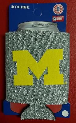NCAA Michigan Wolverines Silver Glitter Neoprene Can Holder / Can Coozie - Hockey Cards Plus LLC