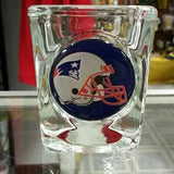 NFL New England Patriots Helmet Logo 2oz Square Heavy Duty Shot Glass - Hockey Cards Plus LLC