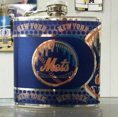 MLB New York Mets 6oz Stainless Steel Flask with 360 Wrap
