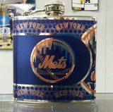 MLB New York Mets 6oz Stainless Steel Flask with 360 Wrap - Hockey Cards Plus LLC
