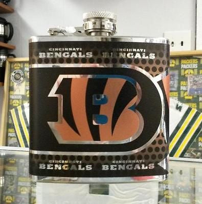 NFL Cincinnati Bengals 6oz Stainless Steel Flask with 360 Wrap - Hockey Cards Plus LLC  - 1