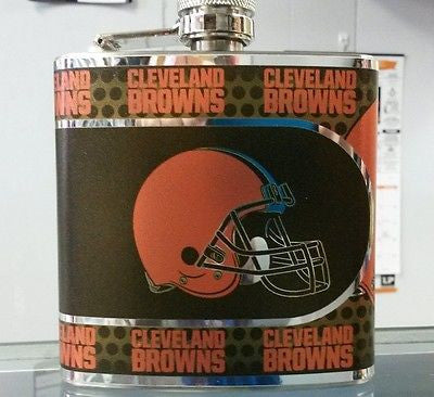 NFL Cleveland Browns 6oz Stainless Steel Flask with 360 Wrap - Hockey Cards Plus LLC  - 1