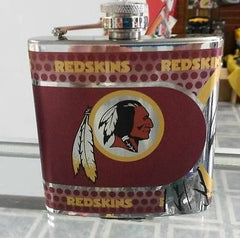 NFL Washington Redskins 6oz Stainless Steel Flask with 360 Hi-Def Metallic Wrap - Hockey Cards Plus LLC  - 1