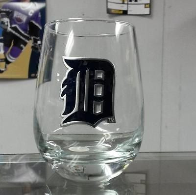 MLB Detroit Tigers 15oz Stemless Wine Glass with Team Logo - Hockey Cards Plus LLC