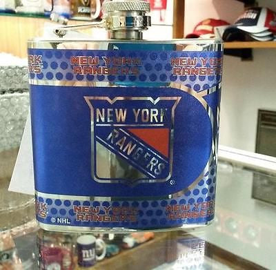 NHL New York Rangers 6 oz Hip Flask with Hi-Def Metallic Wrap