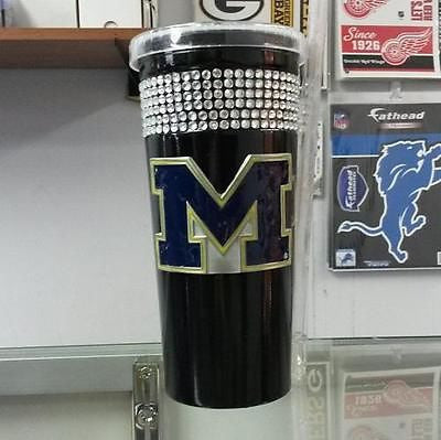 NCAA Michigan Wolverines 16oz Black Stainless Steel Bling Tumbler with Straw - Hockey Cards Plus LLC