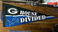 "NFL Detroit Lions / Green Bay Packers  House Divided Premium Pennant 12"" x 30"" - Hockey Cards Plus LLC"