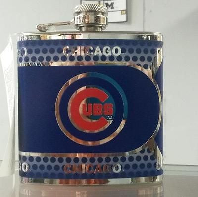 MLB Chicago Cubs 6oz Stainless Steel Flask with 360 Wrap - Hockey Cards Plus LLC