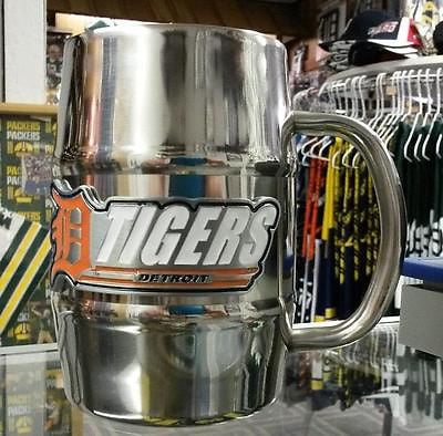 NEW!!!!!!  MLB Detroit Tigers 16oz Stainless Steel Barrel Mug / Coffee Mug - Hockey Cards Plus LLC