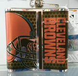 NFL Cleveland Browns 6oz Stainless Steel Flask with 360 Wrap - Hockey Cards Plus LLC  - 2