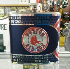 MLB Boston Red Sox 6oz Stainless Steel Flask with 360 Wrap - Hockey Cards Plus LLC