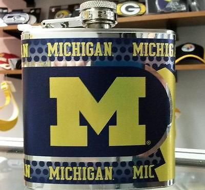 NCAA Michigan Wolverines 6oz Stainless Steel Flask with 360 Wrap - Hockey Cards Plus LLC  - 1