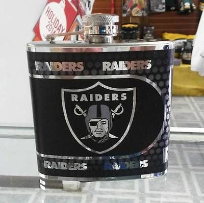 NFL Oakland Raiders 6oz Stainless Steel Flask with 360 Hi-Def Metallic Wrap - Hockey Cards Plus LLC  - 1