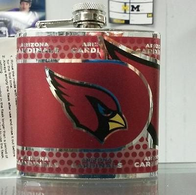 NFL Arizona Cardinals 6oz Stainless Steel Flask with 360 Wrap - Hockey Cards Plus LLC  - 1