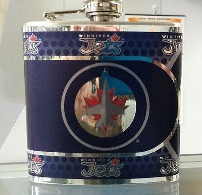 NHL Winnipeg Jets 6 oz Hip Flask with 360 Wrap - Hockey Cards Plus LLC  - 1