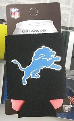 NFL Detroit Lions Black Neoprene Can Holder / Can Coozie - Hockey Cards Plus LLC