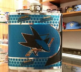 NHL San Jose Sharks 6 oz Hip Flask with 360 Wrap - Hockey Cards Plus LLC  - 1