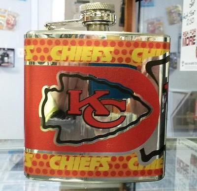 NFL Kansas City Chiefs 6oz Stainless Steel Flask with 360 Wrap - Hockey Cards Plus LLC  - 1