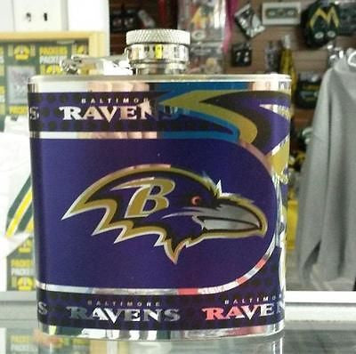 NFL Baltimore Ravens 6oz Stainless Steel Flask with 360 Wrap - Hockey Cards Plus LLC  - 1