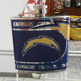 NFL San Diego Chargers 6oz Stainless Steel Flask with 360 Hi-Def Metallic Wrap - Hockey Cards Plus LLC  - 1