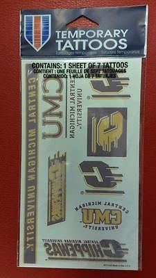 NCAA Central Michigan Chippewas Temporary Tattoo Sheet - Hockey Cards Plus LLC