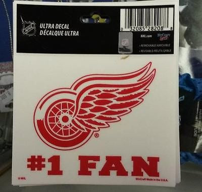 "NHL Detroit Red Wings #1 Fan Multi-Use Decal 3"" x 4"" - Hockey Cards Plus LLC"