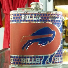 NFL Buffalo Bills 6oz Stainless Steel Flask with 360 Wrap - Hockey Cards Plus LLC  - 1