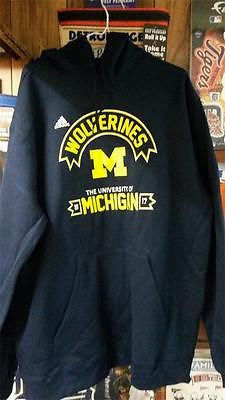 NCAA Michigan Wolverines Navy Blue Adidas Hoodie - Hockey Cards Plus LLC  - 1