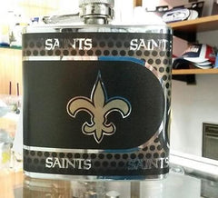 NFL New Orleans Saints 6oz Stainless Steel Flask with 360 Wrap - Hockey Cards Plus LLC  - 1