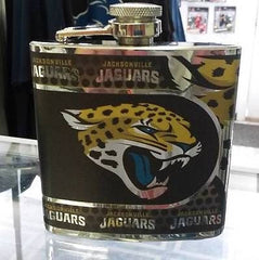 NFL Jacksonville Jaguars 6oz Stainless Steel Flask with Hi-Def Metallic Wrap - Hockey Cards Plus LLC  - 1