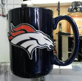 NFL Denver Broncos 15oz Ceramic Blue Coffee Mug with Team Logo - Hockey Cards Plus LLC