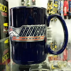 NFL Denver Broncos 15oz Ceramic Blue Coffee Mug with Logo and Team Name - Hockey Cards Plus LLC