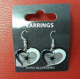NFL Dallas Cowboys Silver Swirl Heart Dangle Earrings - Hockey Cards Plus LLC