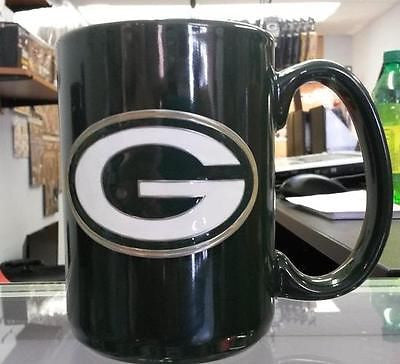 NFL Green Bay Packers 15oz Ceramic Green Coffee Mug with Team Logo - Hockey Cards Plus LLC