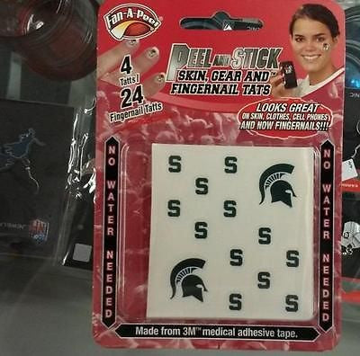NCAA Michigan State Spartans Face & Fingernail Tattoos