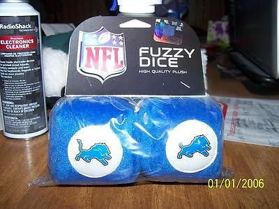 "NFL Detroit Lions 3""  Fuzzy  Dice - Hockey Cards Plus LLC"