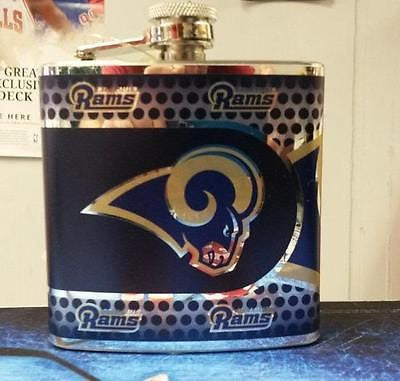NFL St. Louis Rams 6oz Stainless Steel Flask with 360 Wrap - Hockey Cards Plus LLC  - 1
