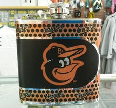 MLB Baltimore Orioles 6oz Stainless Steel Flask with 360 Wrap - Hockey Cards Plus LLC
