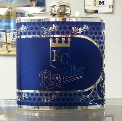 MLB Kansas City Royals 6oz Stainless Steel Flask with 360 Wrap - Hockey Cards Plus LLC