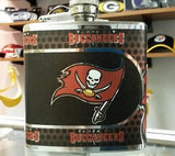 NFL Tampa Bay Buccaneers 6oz Stainless Steel Flask with 360 Wrap - Hockey Cards Plus LLC  - 1