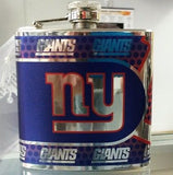 NFL New York Giants 6oz Stainless Steel Flask with 360 Wrap - Hockey Cards Plus LLC  - 1