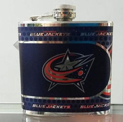 NHL Columbus Blue Jackets 6 oz Stainless Steel Hip Flask with 360 Wrap - Hockey Cards Plus LLC  - 1